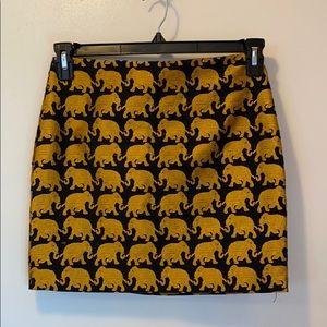 OBO J Crew embroidered elephant mini skirt